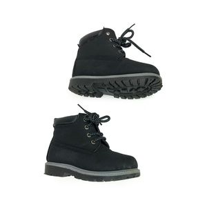Kids Matte Black Lace Up High Top Booties | 11